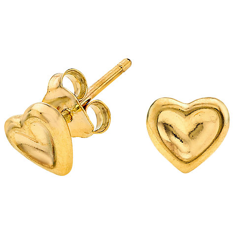 Buy Dower & Hall Dimpled Heart Vermeil Stud Earrings Online at johnlewis.com