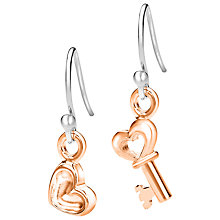 Buy Dower & Hall Vermeil Heart and Key Hook Drop Earrings, Rose Gold Online at johnlewis.com
