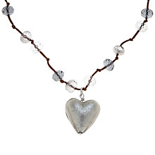 Buy Martick Platinum Murano Heart Cluster Crystal Cord Necklace Online at johnlewis.com