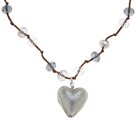 Buy Martick Crystal Heart Pendant and Cord Necklace, Grey Online at johnlewis.com
