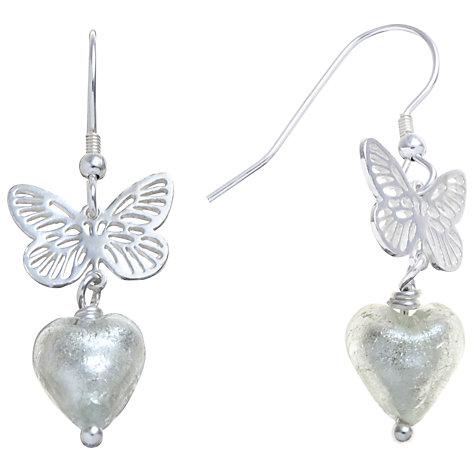 Buy Martick Sterling Silver Butterfly Murano Glass Heart Earrings, Silver Online at johnlewis.com