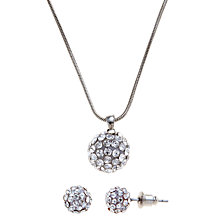 Buy John Lewis Pave Ball Pendant and Earring Set, Silver Online at johnlewis.com