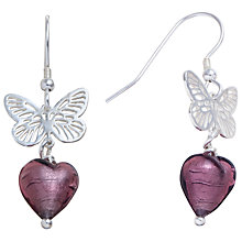 Buy Martick Sterling Silver Butterfly Murano Glass Heart Earrings, Plum Online at johnlewis.com
