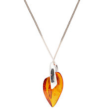 Buy Be-Jewelled Heart Style Amber Pendant, Cognac Online at johnlewis.com