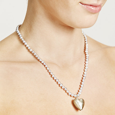 Buy Martick Fresh Water Pearl and Murano Style Necklace, Silver Online at johnlewis.com