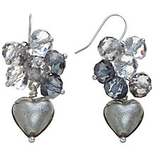 Buy Martick Crystal Cluster Murano Heart Drop Earrings, Grey Online at johnlewis.com