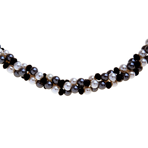 Buy John Lewis Faux Pearl Twisted Necklace, Black/White Online at johnlewis.com