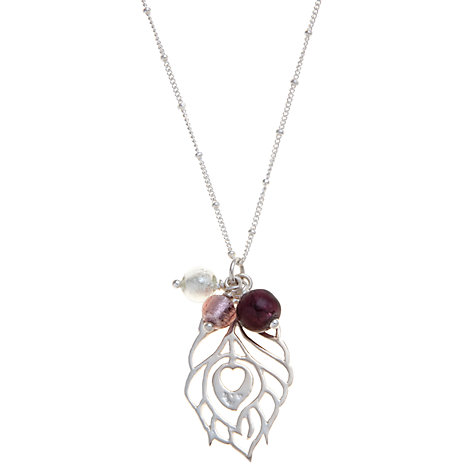 Buy Martick Peacock Feather and Murano Glass Pendant Necklace, Purple/Silver Online at johnlewis.com