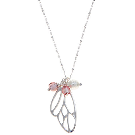 Buy Martick Butterfly Murano Style Pendant Necklace, Pink Online at johnlewis.com