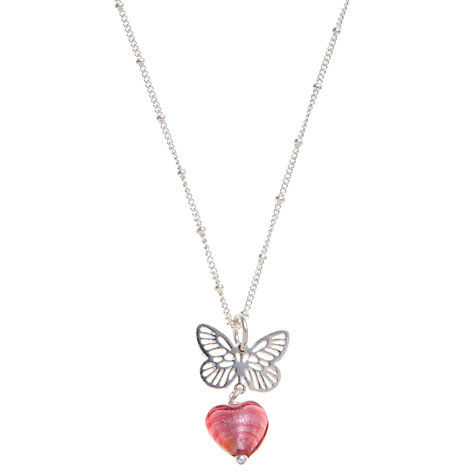 Buy Martick Butterfly and Heart Pendant Necklace, Raspberry Online at johnlewis.com