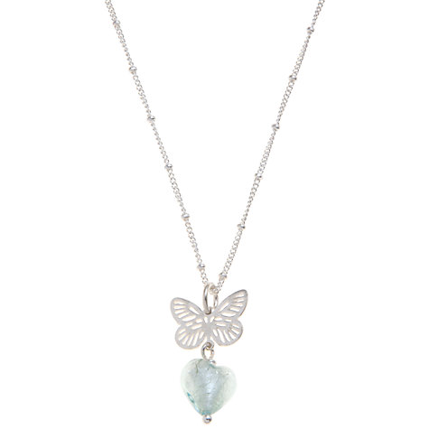 Buy Martick Butterfly and Heart Pendant Necklace, Aqua Online at johnlewis.com