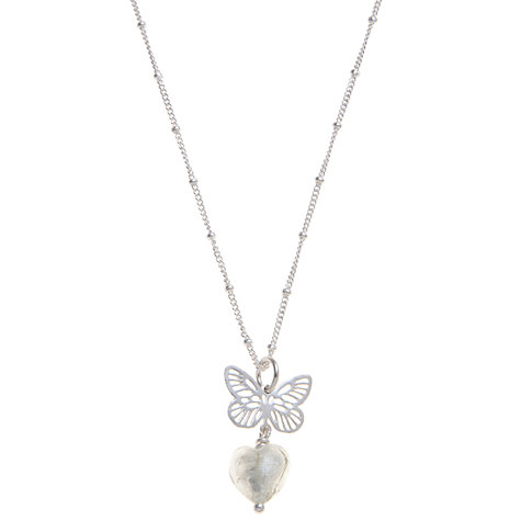 Buy Martick Butterfly and Heart Pendant Necklace, Silver Online at johnlewis.com