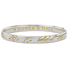 Buy Dower & Hall Dare to Dream Vermeil Detail Bangle, Silver / Gold Online at johnlewis.com