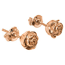 Buy Dower & Hall 18ct Rose Gold Vermeil Rosebud Stud Earrings Online at johnlewis.com