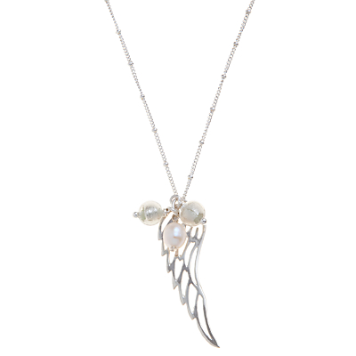 Martick Angel Wing Pendant Necklace, Silver/White