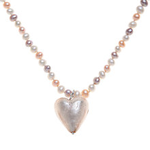 Buy Martick Fresh Water Pearl and Murano Style Necklace, Peach Online at johnlewis.com
