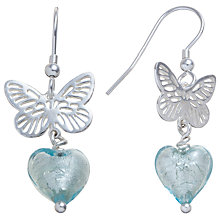 Buy Martick Sterling Silver Butterfly Murano Glass Heart Earrings, Aqua Online at johnlewis.com