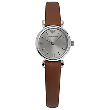 Buy Emporio Armani AR1685 Women's Gianni Leather Strap Watch, Brown / Silver Online at johnlewis.com