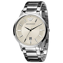 Buy Emporio Armani AR2430 Men's Renato Date Dial Steel Watch, Cream / Silver Online at johnlewis.com