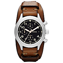 Buy Fossil JR1430 Unisex Compass Chronograph Leather Cuff Watch, Brown Online at johnlewis.com