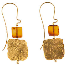 Buy Be-Jewelled Hand Cut Amber Square Earrings, Cognac Online at johnlewis.com