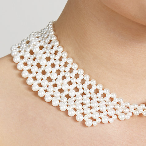 Buy John Lewis Faux Pearl Collar Necklace, White Online at johnlewis.com