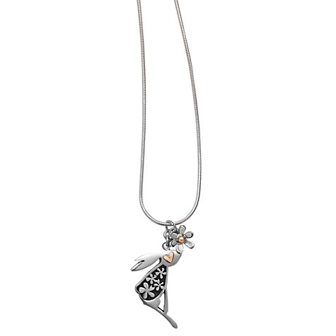 Buy Linda Macdonald Hare and Floral Detail Necklace, Silver/Gold Online at johnlewis.com