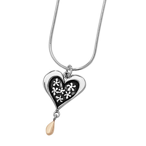 Buy Linda Macdonald Heart and Droplet Pendant Necklace, Silver / Gold Online at johnlewis.com
