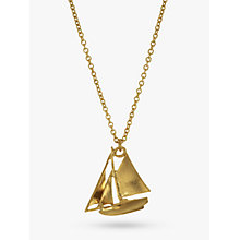Buy Alex Monroe 22ct Gold Vermeil Sailing Boat Necklace, Gold Online at johnlewis.com
