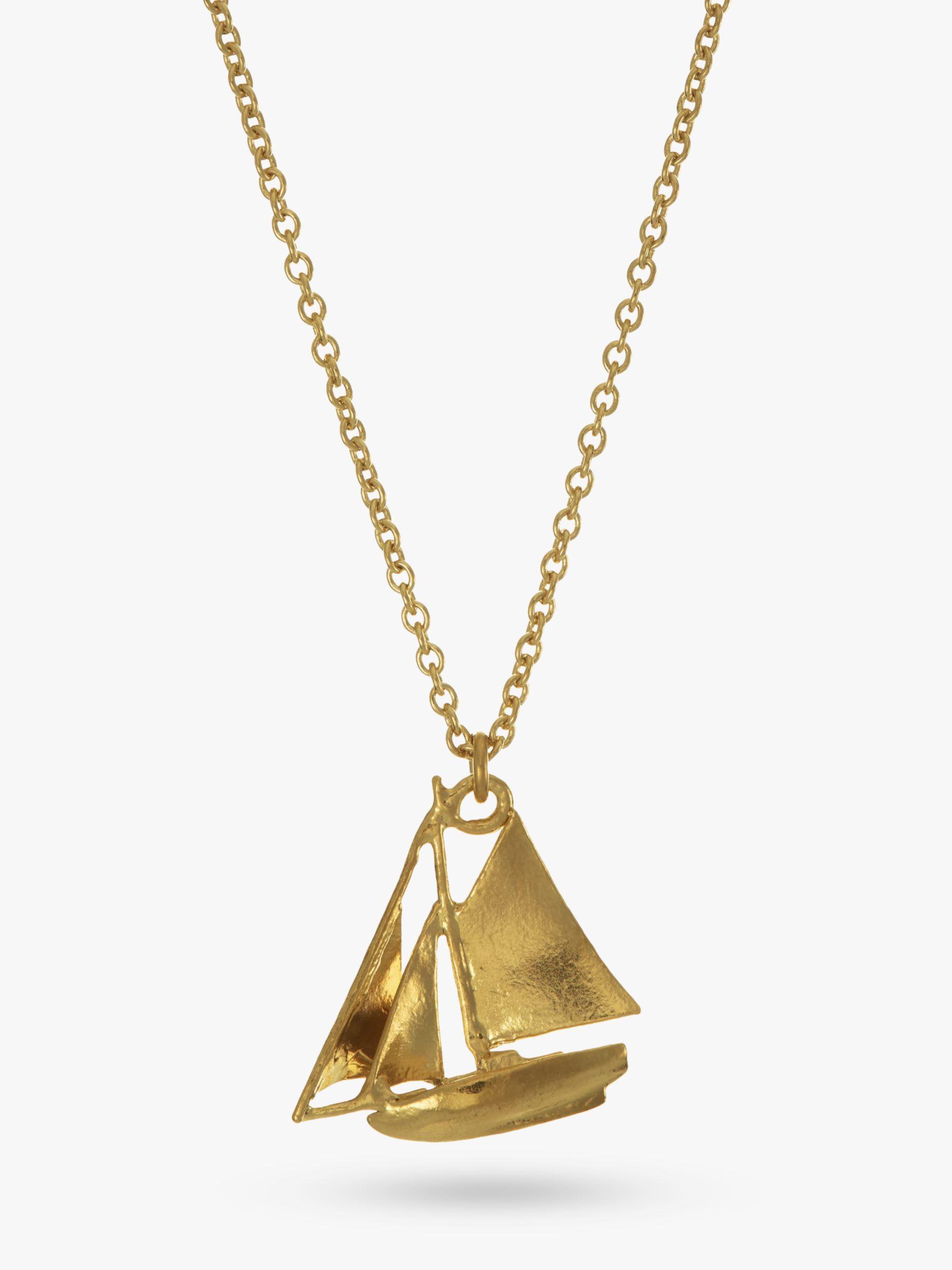 Alex Monroe Alex Monroe 22ct Gold Vermeil Sailing Boat Necklace, Gold