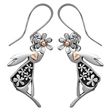 Buy Linda Macdonald Hare and Floral Detail Earrings, Silver/Gold Online at johnlewis.com