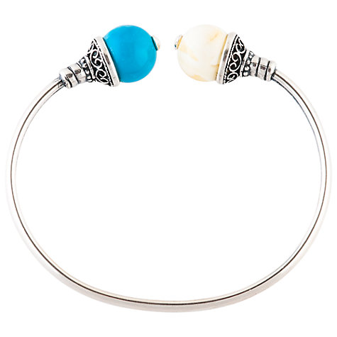 Buy Be-Jewelled Double Stone Torque Bangle, Turquoise / Milky Amber Online at johnlewis.com