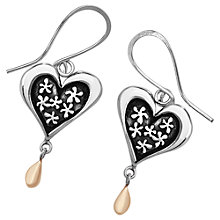 Buy Linda Macdonald Heart and Droplet Earrings, Silver/Gold Online at johnlewis.com