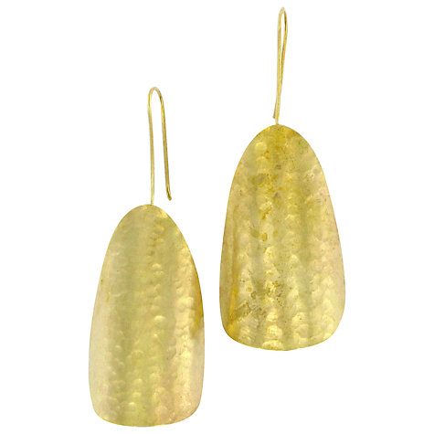 Buy Made Matawi Textured Shield Drop Earrings, Gold Online at johnlewis.com