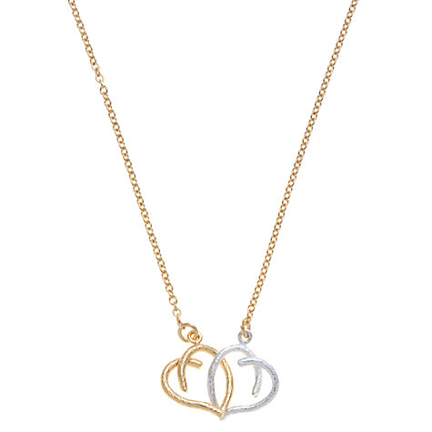Buy Alex Monroe 25th Anniversary 22ct Gold Vermeil Linked Hearts Necklace, Gold / Silver Online at johnlewis.com
