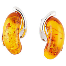 Buy Be-Jewelled Kidney Shape Stud Earrings, Cognac Online at johnlewis.com