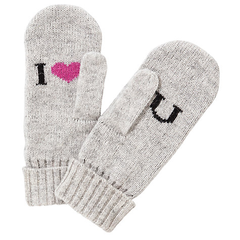 Buy John Lewis Heart Slogan Mittens, Light Grey Online at johnlewis.com