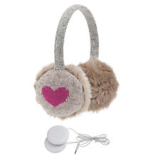 Buy John Lewis Tech Heart Hear Muffs With Earphones, Light Grey Online at johnlewis.com