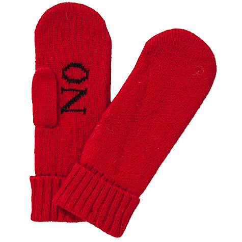 "Buy John Lewis ""Yes No"" Slogan Mittens, Red Online at johnlewis.com"