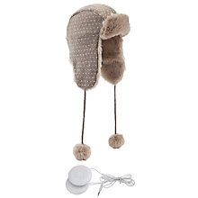 Buy John Lewis Tech Fairisle Dot Trapper Hat With Earphones Online at johnlewis.com