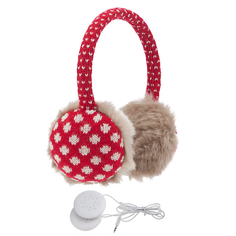 Buy John Lewis Tech Spot Hear Muffs With Earphones, Red Online at johnlewis.com