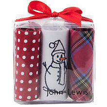 Buy John Lewis Cotton Handkerchiefs, Pack of 3, Red Online at johnlewis.com