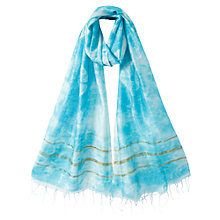 Buy East Knotted Tie Dye Scarf, Aqua Online at johnlewis.com