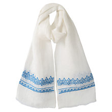 Buy East Tapestry Boarder Scarf, White Online at johnlewis.com