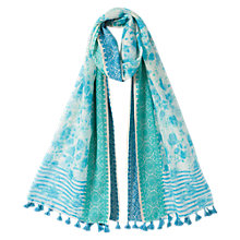 Buy East Floral Jacquard Scarf, Aqua Online at johnlewis.com