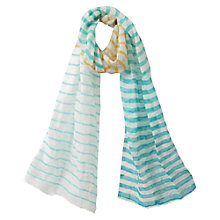 Buy East Ombre Striped Scarf, White Online at johnlewis.com