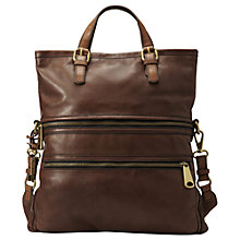 Buy Fossil Explorer Leather Tote Bag, Espresso Online at johnlewis.com