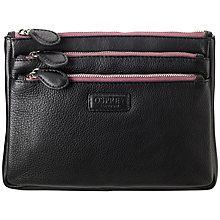 Buy OSPREY LONDON The Portobello Large Triple Compartment Purse, Black Online at johnlewis.com