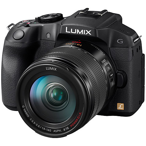 "Buy Panasonic Lumix DMC-G6 Compact System Camera with 14-140mm Lenses, HD 1080p, 16MP, EVF, 3"" LCD Online at johnlewis.com"