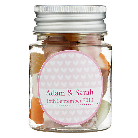 Buy Fine Confectionery Company Personalised Dolly Mix Hearts Jar, Pack of 25, Small Online at johnlewis.com